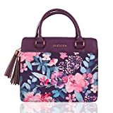 Blessed Purse Style Bible Cover for Women Black Faux Leather, Purple Floral Medium