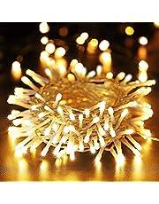 BrizLabs Lichtsnoer voor buiten, 100 leds, warmwit, kerstverlichting, binnen, 8 modi, waterdicht, met timer voor kamer, Kerstmis, party, bruiloft, decoratie, doorzichtige kabels