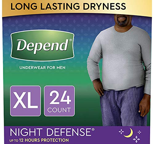 Depend Night Defense Incontinence Underwear for Men, Overnight, Disposable, (2 Packs of 12) (Packaging May Vary) X-Large, 24 Count