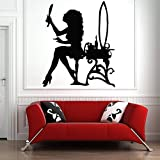 wZUN Salon de Coiffure Sticker Mural Coiffeur Outils de Coiffeur Ciseaux Salon de Coiffure Salon de beauté Vinyle décalcomanie Fille Chambre 80x68 cm