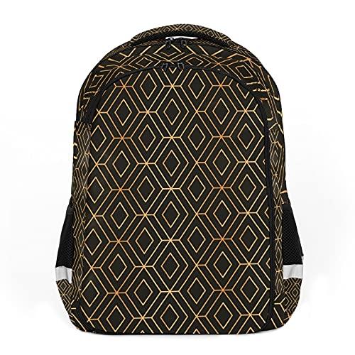 Oro negro geométrico de lujo perfecto para mochilas escolares y de viaje, mochilas de estudiantes perfectas para todas las edades