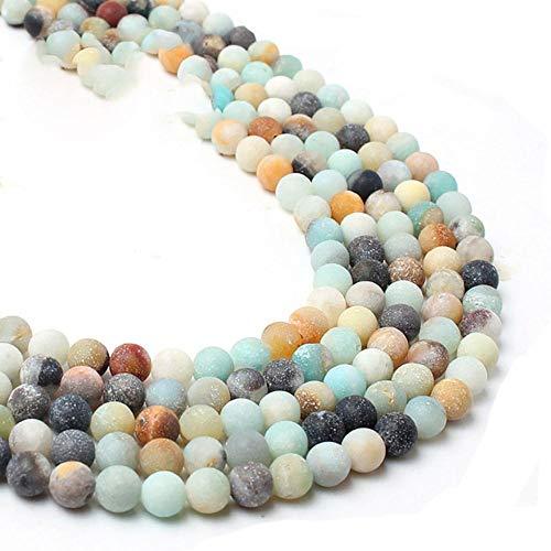 Venta al por mayor opaco mate ágatas mate Jada granos flojos redondos para la fabricación de joyas de piedra natural collar de pulsera de bricolaje 4/6/8/10 mm 15 ``, amazonita colorida, 6 mm