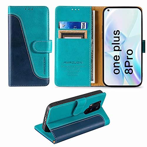 FMPCUON Handyhülle für OnePlus 8 Pro Hülle Leder,Premium Klapphülle Handytasche Flip Hülle Handy Hüllen Schutzhülle für OnePlus 8 Pro (6.78 Zoll),Blau/Grün