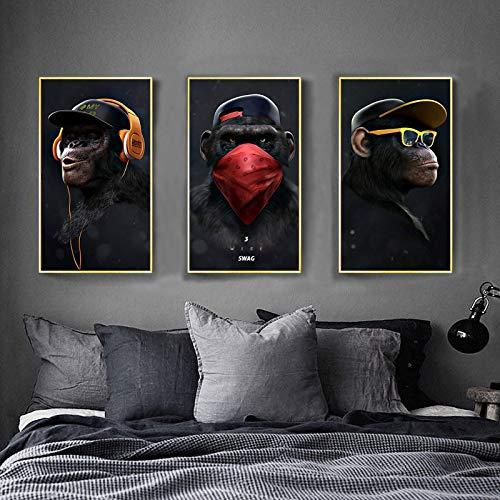 ganlanshu Rahmenlose Malerei Tiermalerei modernes Denken Affenwandkunstplakat & WohnzimmerdekorationsmalereiZGQ2957 50x70cmx3