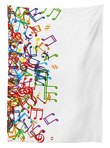 Yeuss Color¨¦ Home Decor Nappe Trippy Style Notes de Musique Clef Rhythm Tempo Melody Harmony Impression, Salle ¨¤ Manger Cuisine Table rectangulaire Coque, Multi, Blanc, 60\