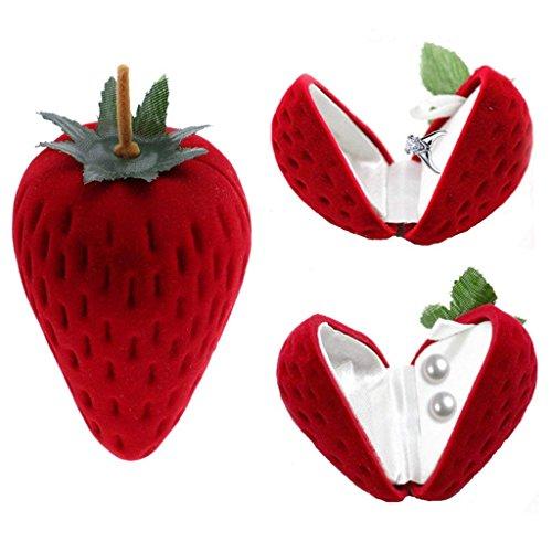 WOVELOT Il Piccolo Contenitore di Regalo di orecchino ' del Contenitore di monili di Forma di Fragola immagazzina la Frutta Rosso