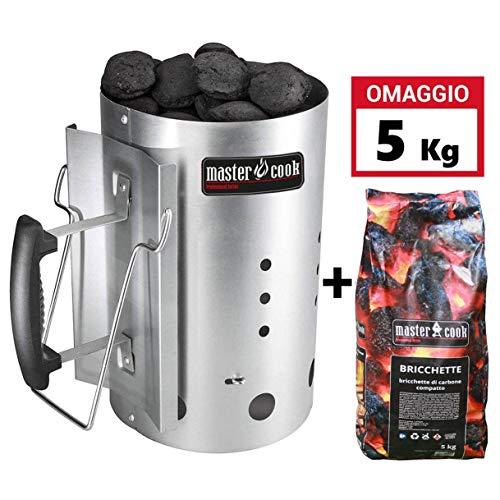 MasterCook - Kit Accenditore Barbecue + Bricchetti 5 kg Omaggio - Impugnatura di Sicurezza in Alluminio - Kit ciminiera, accenditore 30 x 19 cm, Diame