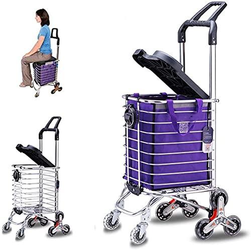 Carrito de compras plegable plegable para el hogar, escaleras, con cubierta (se puede sentar) y soporte para vasos, carrito plegable