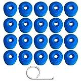 Gebildet 20 Piezas 17mm Tapa de Perno de Tuerca de Rueda, Tapa de Tornillo de Neumático de Perno de Rueda con una Herramienta de Extracción (Azul)