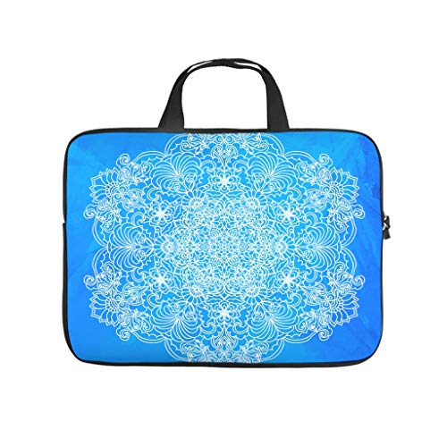 Customized Tablet Bag Blue Mandala Flower 3D Laptop Computer Protective Case Cover Dust-Proof Neoprene Tablet Protective Bag Compatible with Tablet White 13inch
