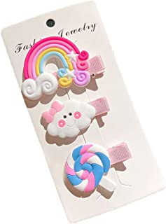 Ixkbiced Cute Colorful Polymer Clay Bambini Copricapo Arcobaleno Cloud Lollipop Forcine