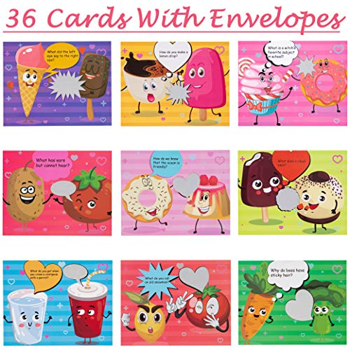 Best Prices! Valentine's Day Cards for Kids - 36 Scratch off Jokes Cards + 36 Envelopes Classroom Cl...
