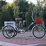 Cómodo Bicicleta Cruiser, Triciclos For Adultos,Bicicleta 3 Ruedas Bici Cruise Trikes con Carrito Y Flexible Freno De Retención, Marco De Acero De Alto Carbono For Personas Mayores, Mujeres, Hombres