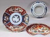 華心 ADn-C13e7 古伊万里 色絵 桐に鳳凰 魚に貝の図 豆皿