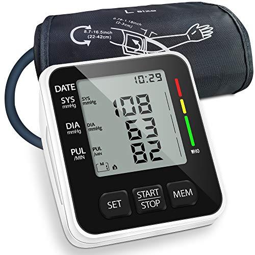 NWOUIIAY Oberarm-Blutdruckmessgeräte Digital Vollautomatisch Blutdruckmessgerät Pulsmessung Mit2 User Memories (2 * 99) und großem 3,5-Zoll-LED-Display