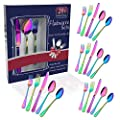 Rainbow Travel flatware set with Case Stainless Steel silverware Tableware Set colorful reusable-portable-utensils-silverware-case,Include Knife/Fork/Spoon/Straw