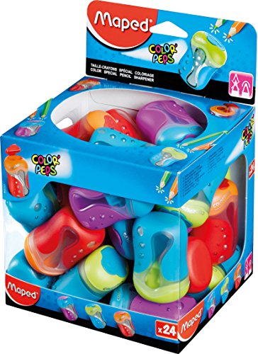 Maped Color'Peps Two Hole Canister Pencil Sharpener (Box of 24 in Assorted Colours)