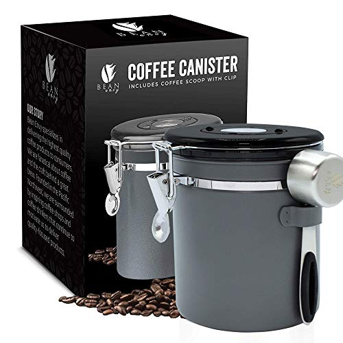 Bean Envy Airtight Coffee Canister - 16 oz - Includes Stainless Steel Coffee Scoop - Sealed Container With Cantilever Lid - Co2 Gas Release Wicovalve & Numerical Day/Month Tracker - Gray