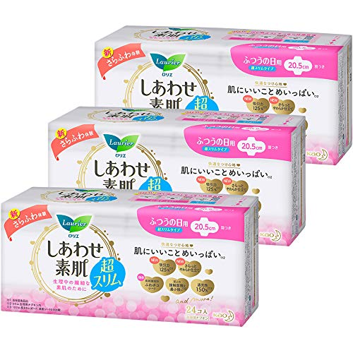 [Bulk Purchase] Lolier Shiawase-Bare Skin Ultra Slim for Normal Day Use, 8.1 inches (20.5 cm), 24 x 3 sets (72 pieces)