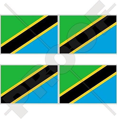 TANSANIA Tansanische Flagge, Fahne Ostafrika Afrikanisch 50mm Auto & Motorrad Aufkleber, x4 Vinyl Stickers