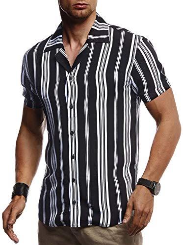 Leif Nelson Herren Hemd Kurzarm Oversize Kentkragen Stylisches Männer Hawaiihemd Stretch Kurzarmhemd Jungen Basic Shirt Freizeit Urlaub Sommerhemd Freizeithemd LN3695 Schwarz-Weiß Medium