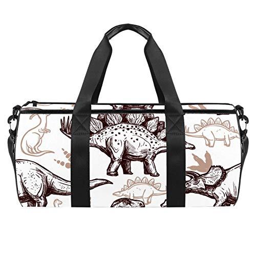 LAZEN Hombro Handy Sports Gym Bags Travel Duffle Totes Bag para Hombres Mujeres Dinosaurios prehistóricos con huellas