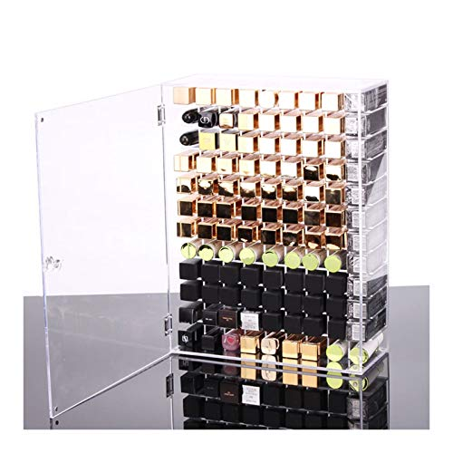 Estante de la joyería Barras de labios Soporte Organizador - gran capacidad Lip Glaze titular estante de exhibición de 108 Rejas de labios caja de almacenamiento con Glosas a prueba de polvo Tapa for