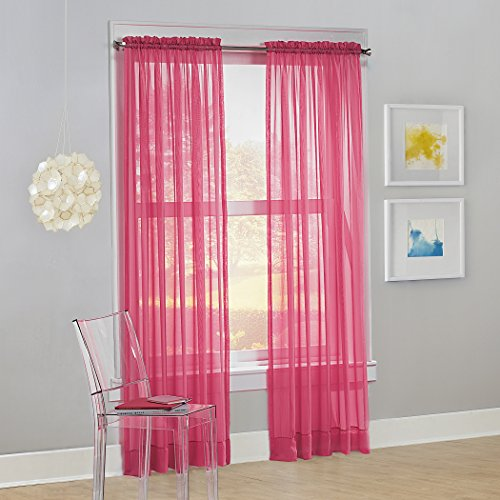 "No. 918 Calypso Sheer Voile Rod Pocket Curtain Panel, 59"" x 84"", Pink, 1 Panel"