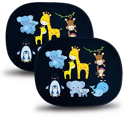 HECKBO Parasol autoadhesivo para coche - protección solar para niños (2 piezas) | Animales bebés con momia | protección solar para ventanillas de coche | 44x 36cm | parasol para coche con bolsa incl