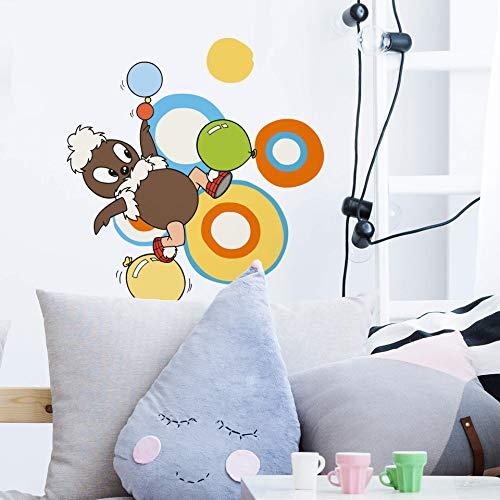 Klebepunkte Bunt Sandmann Wandtattoo Pittiplatsch mit Luftballon Klebebilder für die Wand