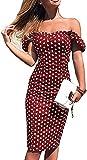 Vestido de Verano de Mujer Tubo Delgado Vestido de Noche Bodycon Fuera del Hombro Estampado de Lunares Casual Elegante Vintage (Rojo, L)