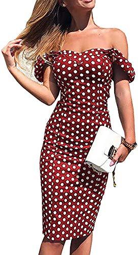Bowanadacles Vestito da Donna Estivo Abito da Sera del Tubo Slim Aderente off-Spalla Stampa a Pois Casual Elegante Vintage (Rosso, M)