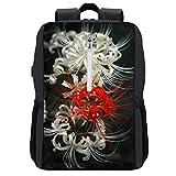 彼岸花 レッド 白い ビジネスノートパソコンバックパック 防水 旅行バッグ 13-15.6インチのノート型パソコン USBポート付き