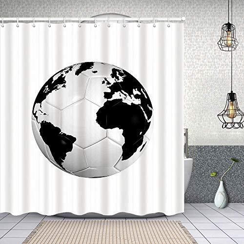 Dfform Cortina Baño,Balón de fútbol con el Mapa del Mundo Copa de...