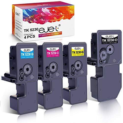 ejet TK 5230 Cartucho de tóner Compatible para Kyocera ECOSYS TK-5230 for Kyocera ECOSYS P5021cdn, M5521cdn, P5021cdw, M5521cdw (1 Negro,1 Cian,1 Amarillo,1 Magenta4-Pack)