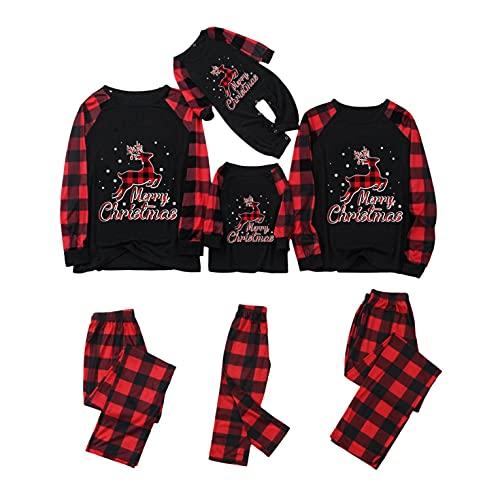 Ugly Christmas Matching Family Pajamas Sets Classic Red Plaid Printed Pjs Xmas Funny Snowflake Elk Graphics Cotton Sleepwear