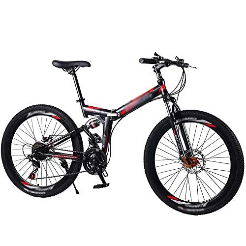 COUYY Bicicleta de montaña de Bicicleta 24/26'Bicicleta Plegable de Bicicleta de Carretera Doble Disco de Freno Plegable Bicicleta de montaña para Estudiantes,21 Speed,26 Inches