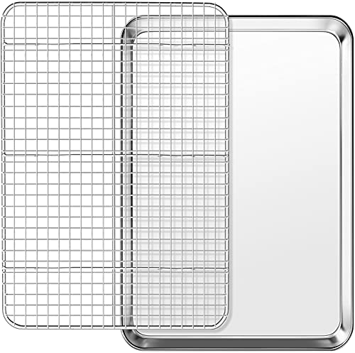Baking Sheet with Cooling Rack Set, Footek Stainless Steel Cookie Sheet Baking Pan Tray with Wire Rack for Oven, Dishwasher Safe, Non Toxic, Heavy Duty & Easy Clean (2, 18inch)