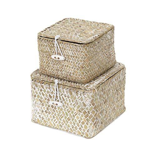 Compactor Set 2 cestas cuadradas con tapa, Modelo Trésor, Color blanco lavado, Tamaño, 15 x 15 x 10 cm, / 12 x 12 x 8 cm, RAN7853