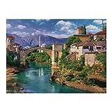 XIAOXINGXING Puzzle de 1000 Adultos Rompecabezas Madera Puente Viejo en Mostar, Bosnia y Herzegovina educativos para niños Adultos y Adolescentes