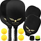 Pickleball Paddle Set of 2 - Graphite Pickleball Racket + 4 Pickle Balls + Cover + 2 overgrips - Composite Pickleball Paddles Bundle Honeycomb Pickle Ball Racket - Pickleball Racquet Game Sets