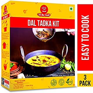 EL The Cook Indian Lentils (Dal Tadka) 8.6 Ounce Kit with Tempered Spices Mix (All Natural, Keto Friendly, Gluten Free) Indian Mains, Vegetarian, Ready to Cook, Pack of 3
