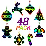 ORIENTAL CHERRY Christmas Crafts - Magic Rainbow Scratch Art Kits(Makes 48 Ornaments) - Xmas Tree Decoration Gift Tags Supplies for Kids Toddlers Ages 4-8 8-12 Birthday Party