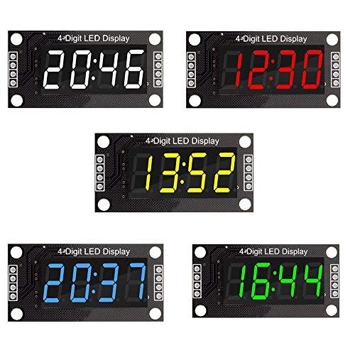 DiyStudio 5色 TM1637 4桁LED 0.36インチ 0.36インチ 7セグメントディスプレイ デジタルチューブクロック ダブルドットモジュール グリーンLEDディスプレイモジュール Arduino用 (時間とともに0.36インチ)