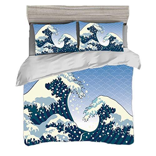 Bettwäscheset (240 x 260cm) mit 2 Kissenbezügen Japanische Welle Digitaldruck Bettwäsche Fernöstliche Malerei-ozeanische Sturm-Thema-Tsunami-Wind-Wasser-Grafik, aquamarines blaues Weiß Pflegeleicht an