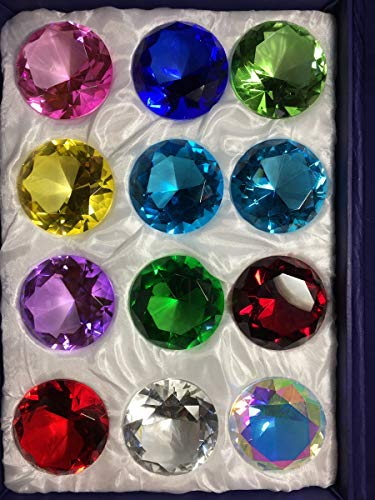 Holiday's Day Special: Crytal Glass Diamond Paperweight Round Cut 12pc Box Set (44mm)