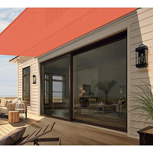 Patio Outdoor Sun Shade Sail Cover for Deck Pergola Porch Yard with Grommets Rods Window Door Shade Screen Panel 14'x37' Orange