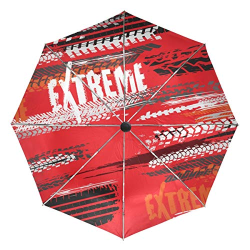 Petit Parapluie de Voyage Coupe-Vent extérieur Pluie Soleil UV Auto Compact 3 Plis Couverture de parapluies - Pneu de Moto Pistes modèle sans Couture