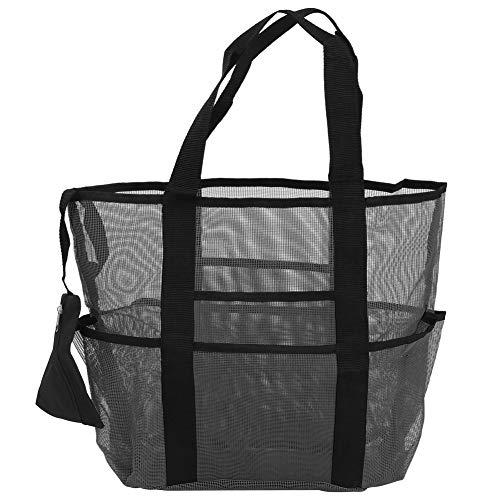 Bolso de Playa, Bolso Grande de Malla Reutilizable y Elegante para Viajes(Black)