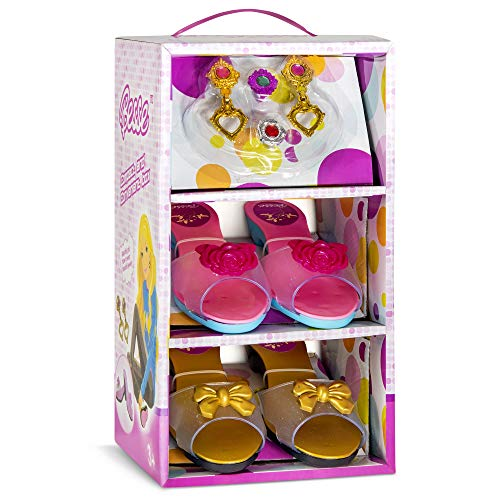 JaxoJoy Shoes and Jewelry Boutique – Little Girl Princess Play Gift Set with 2 Pairs of Shoes, 2 Rings & 1 Pair of Earrings – Great for Dress Up & Group Play – Recommended Ages 3+